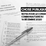 ACCM : Notes pour le conseil du 16 décembre 2020