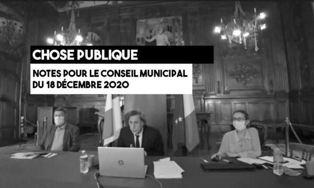 Notes pour le conseil municipal du 18 décembre 2020
