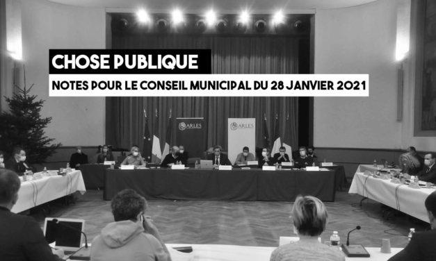 Notes pour le conseil municipal du 28 janvier 2021