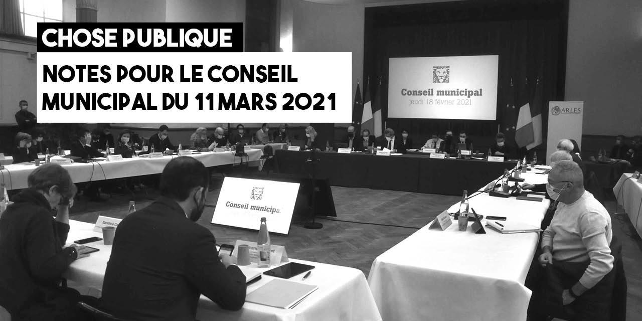Notes pour le conseil municipal du 11 mars 2021