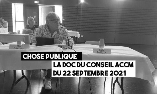 La doc du conseil communautaire ACCM du 22 septembre 2021