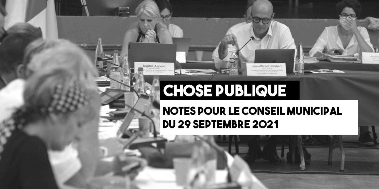 Les notes du conseil municipal du 29 septembre 2021